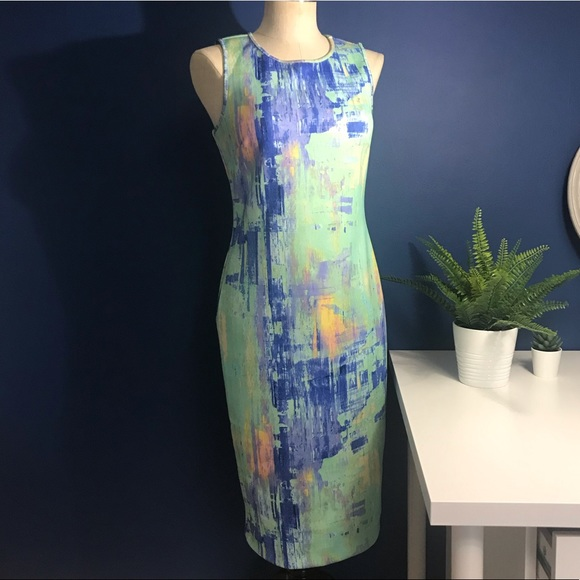 Apt. 9 Dresses & Skirts - Watercolor Print Scuba Midi Bodycon Dress